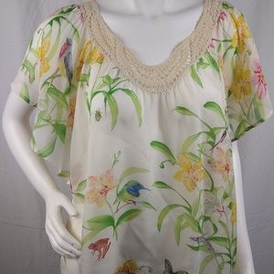 Anthro Floreat Top 100% Silk Floral Sheer Size S